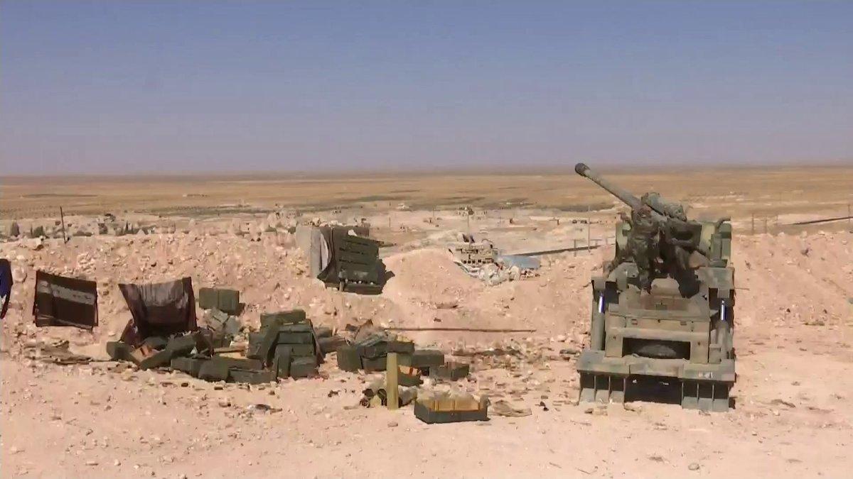 مدفع M-46 عيار 130 ملم الذاتي الحركه المدولب المطور من قبل الجيش السوري  DEh8I7dXcAIXPyM