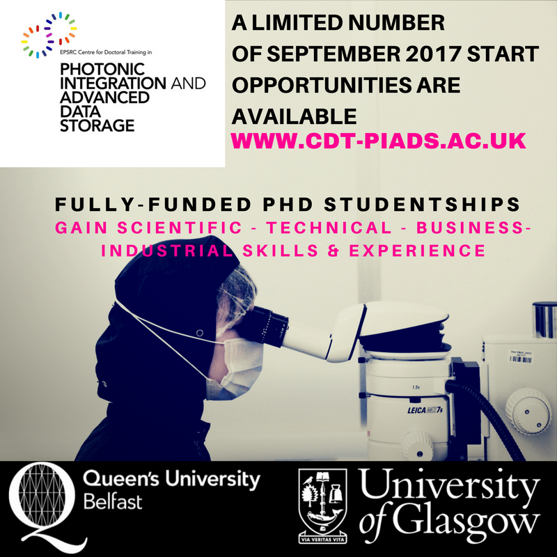 APPLY: final opportunities @CDT_PIADS - Sep 2017 intake #phd #findaphd #cdtchat  #innovation #materials  #nanofabrication #optoelectronics<br>http://pic.twitter.com/Gl9cyCbXFj