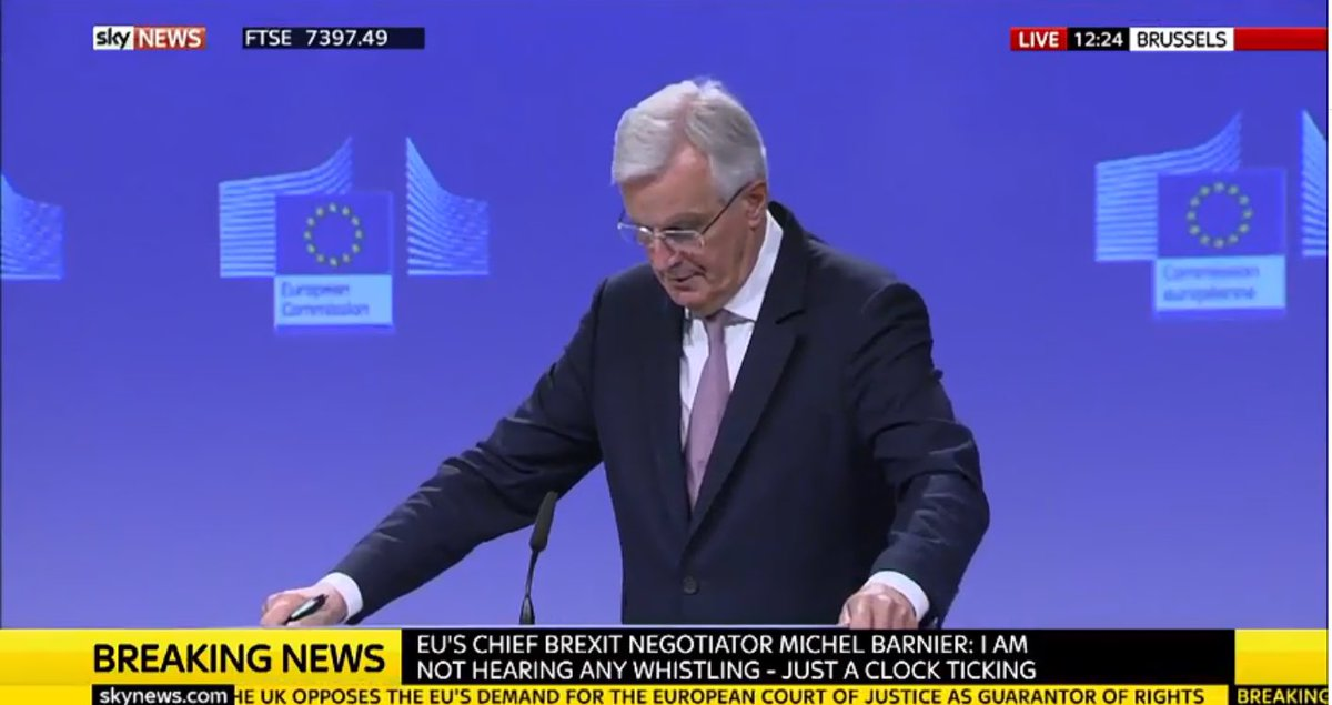 Barnier responding to Foreign Secretary's words yesterday that EU shd 'go whistle': 'I'm not hearing any whistling..just the clock ticking'