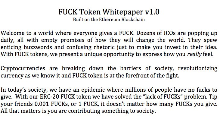 Michael Del Castillo On Twitter Behold The FUCK Token In