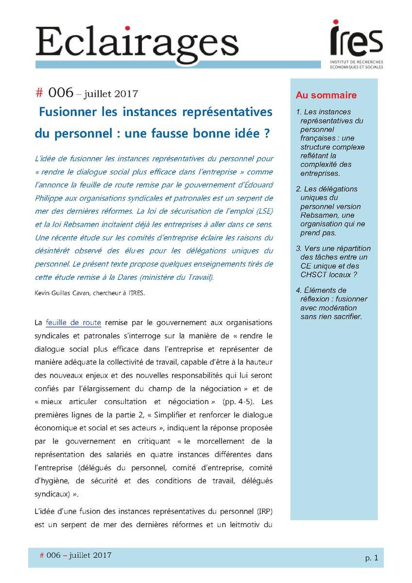 Ires On Twitter Fusionner Les Instances Representatives Du
