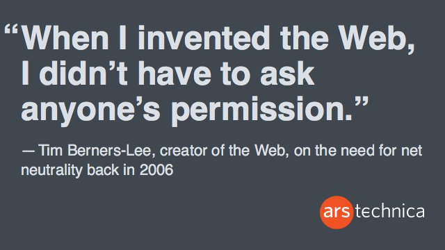 How did the creator of the Web feel about #netneutrality back when all this modern debate started in 2006? https://t.co/F4dnvjdtGB
