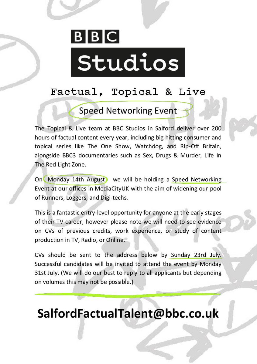 speed networking w/ @bbcstudios for Runners, Loggers, Digital Ingest Techs in Salford 14 August. Get in quick! https://t.co/fXcQQFMTpE