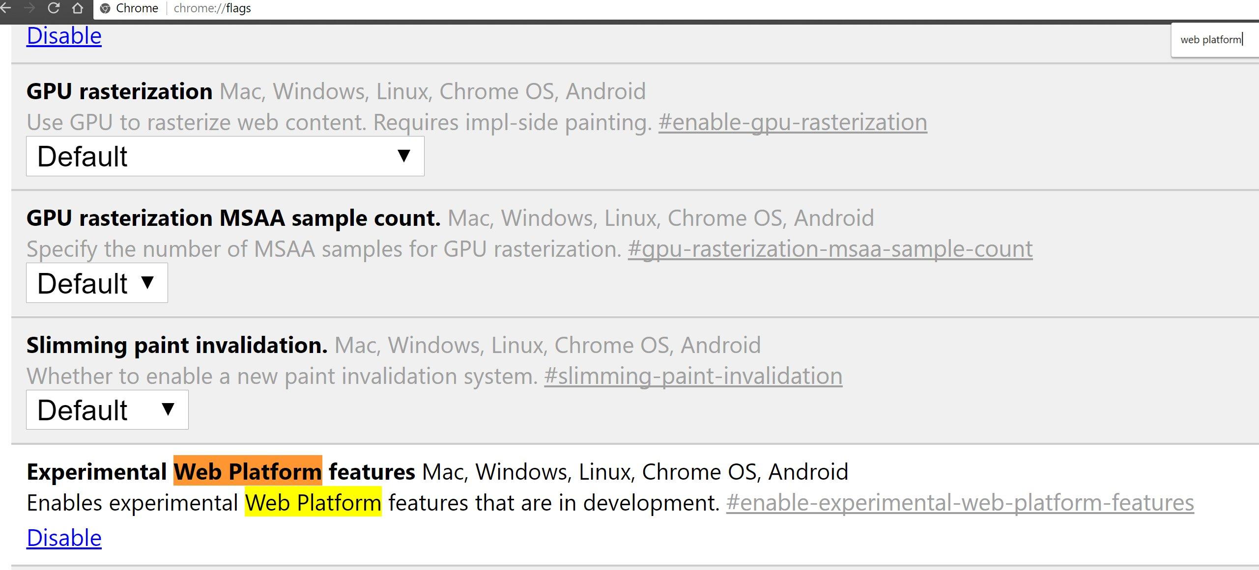 enabling the flag in Chrome