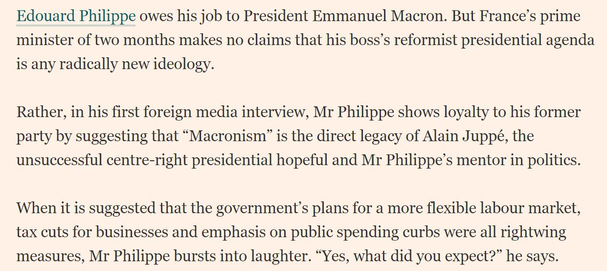 Glad #EdouardPhilippe finds selling of &quot;rightwing measures&quot; as #macron reformism funny. Sense of humour commensurate to hairs on his head<br>http://pic.twitter.com/er1NqZSt1g