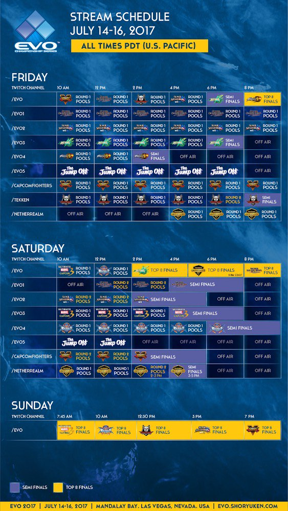 Here is your 2017 Evo stream schedule! #Evo2017 https://t.co/B5GAFq1M0Y
