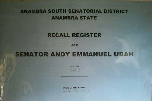 Anambra State governor, Chief Willie Obianoissponsoring an Andy Ubah recall programme from the Senate.