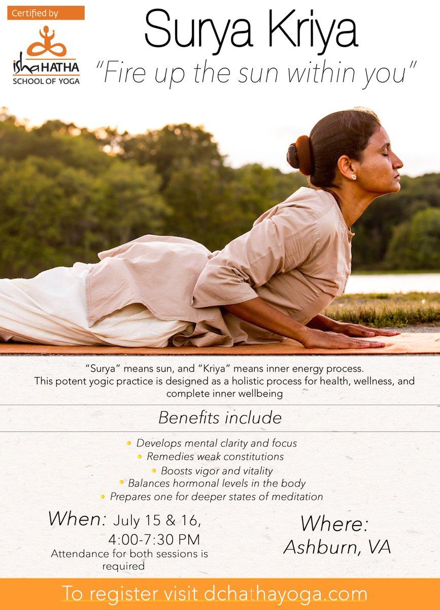Dc Hatha Yoga On Twitter Surya Kriya Workshop In Ashburn Va By Certified Isha Hatha Yoga Teachers On Jul 15th 16th 2017 Registrations Https T Co B9ftd9w3if Https T Co Vxxa4qtkoo
