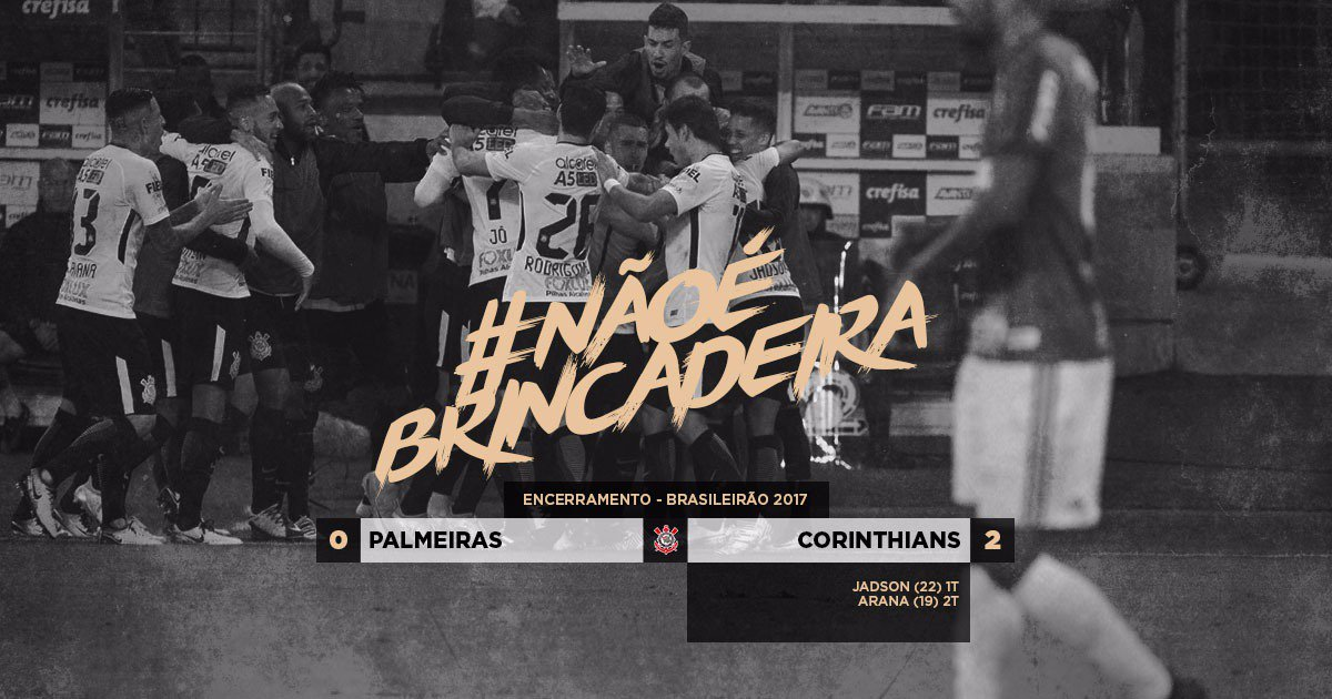 #NãoÉBrincadeira  Muito trabalho para cada jogo da vida! Vitória no #DerbyCentenário fora de casa, a 11ª no Brasileirão. #Corinthians líder!