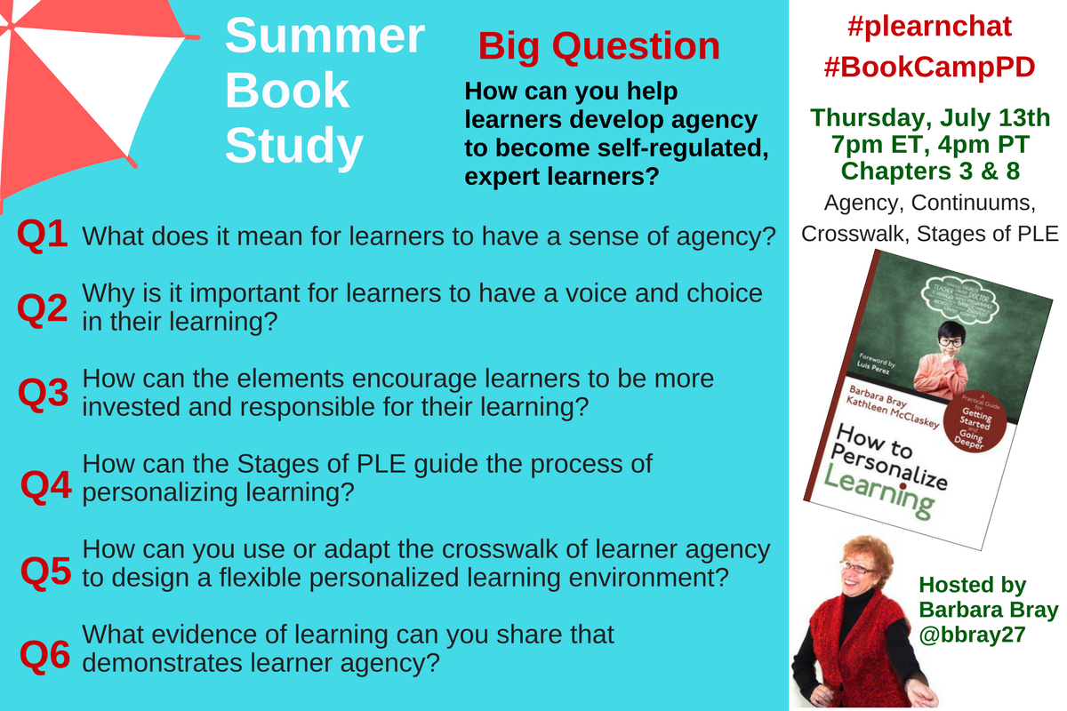 Discuss Learner Agency in #plearnchat Summer Book Study: How to Personalize Learning: Ch 3 & 8 TH 7/13, 4p PT, 7p ET https://t.co/6UG3byx0cs https://t.co/b5wey5UVXb