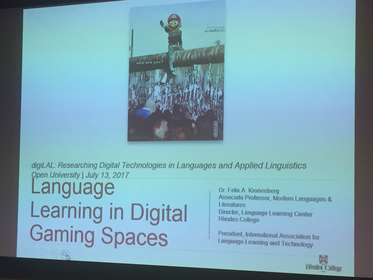 Our final talk at #DigiLAL is on #LanguageLearning in digital #gaming spaces, by @FelixKronenberg.<br>http://pic.twitter.com/kBZXiUI9fB