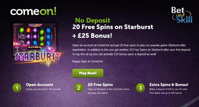 ComeOn Casino no deposit free spins