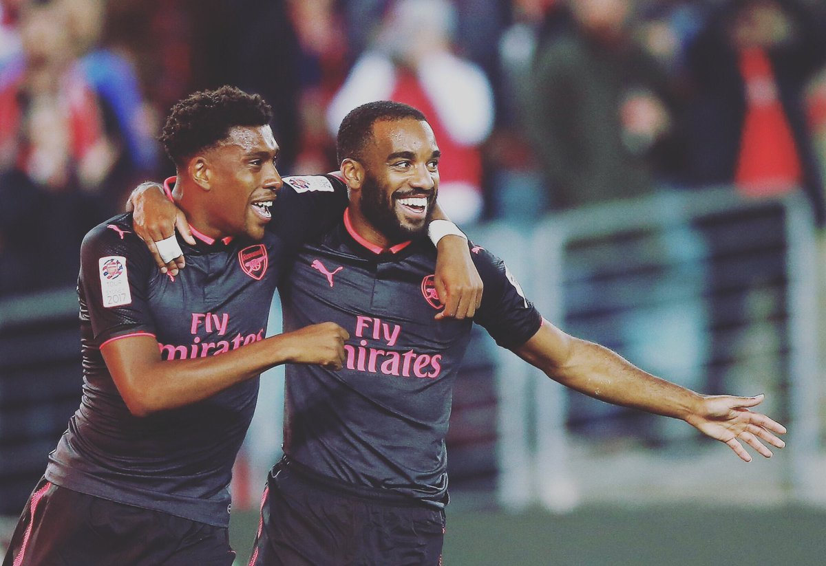 Happy to score my 1st goal with my new Team !! Thanks @alexiwobi.. great assist👌🏾👌🏾 #COYG #SydvARS 🔴
