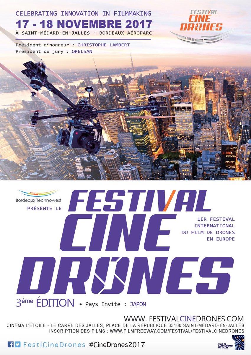 Organisé par @Bdx_Technowest, le @FestiCineDrones lance l'appel à films https://t.co/VlaIvppAPM #CineDrones2017 #drone #Cinema #innovation