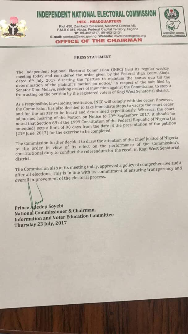 The Independent National Electoral Commission [INEC] has suspended the proposed recall of the senator representing Kogi West Senatorial Zone, Dino Melaye [above].
