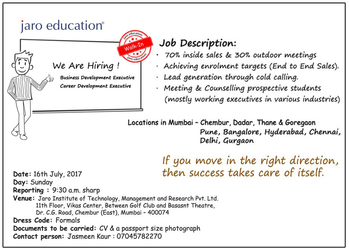 Jaro Education On Twitter Sales Professionals Are Invited Walk In