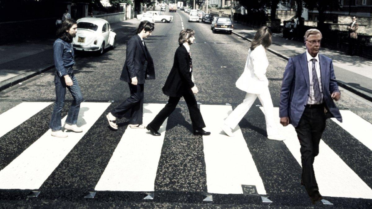 Bosbach verlässt die Beatles in der Abbey Road (Fotomontage)