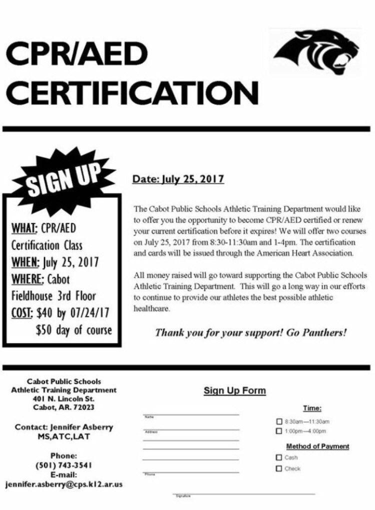 Cabot Athletic Dept On Twitter Want To Become Cpraed Certified