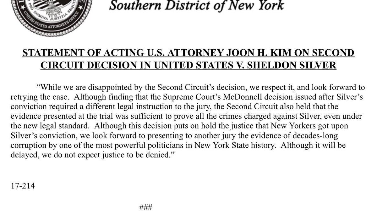 Acting U.S. Attorney Joon Kim says his office will retry Sheldon Silver. https://t.co/Scm1WLeezg