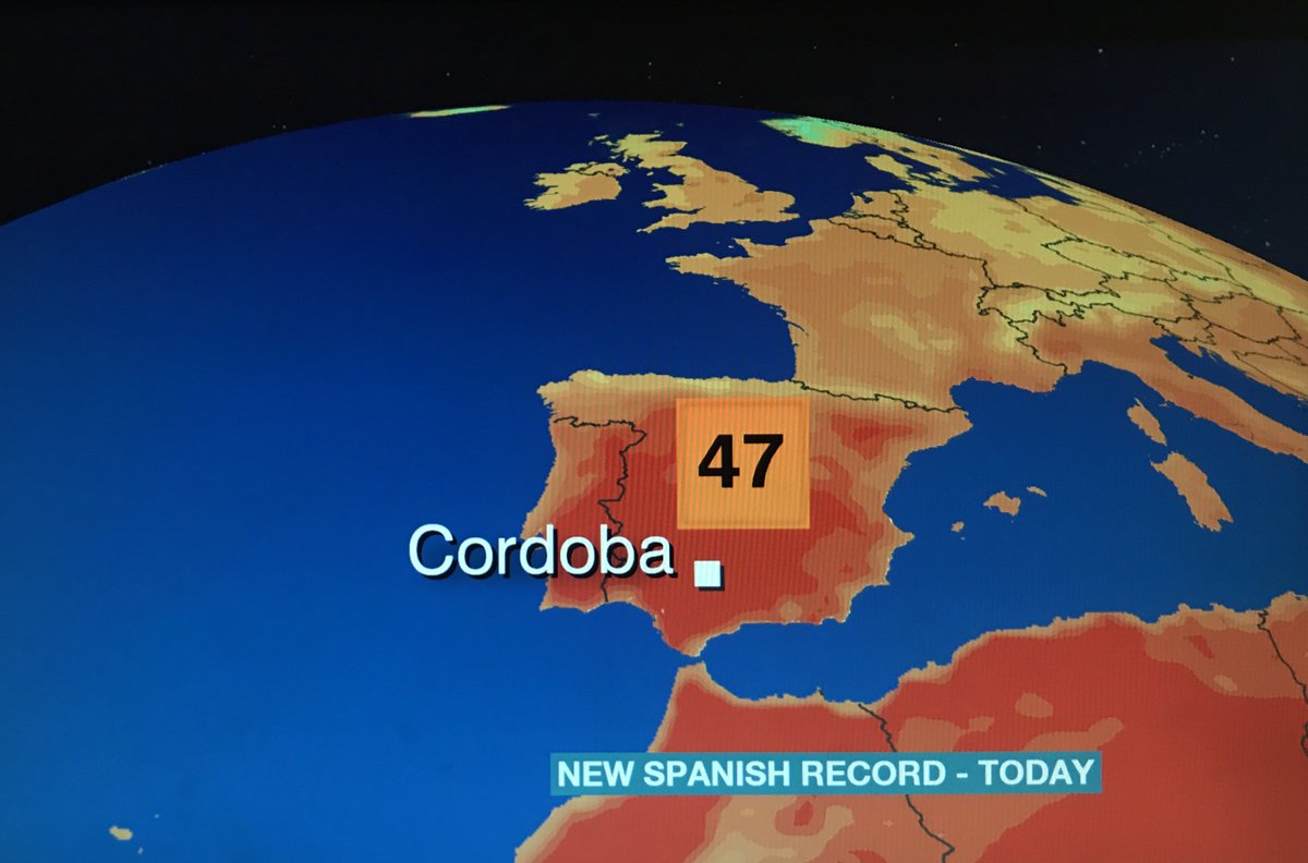 #Spain has today recorded it's highest temperature on record - a ridiculous 47.3C! Now THAT is dangerously hot... Tomasz S