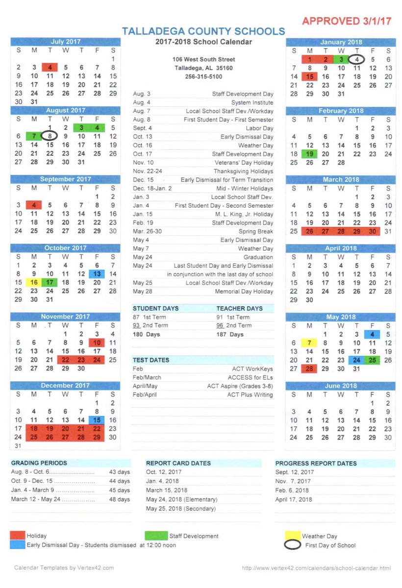 2018 17 school calendar template