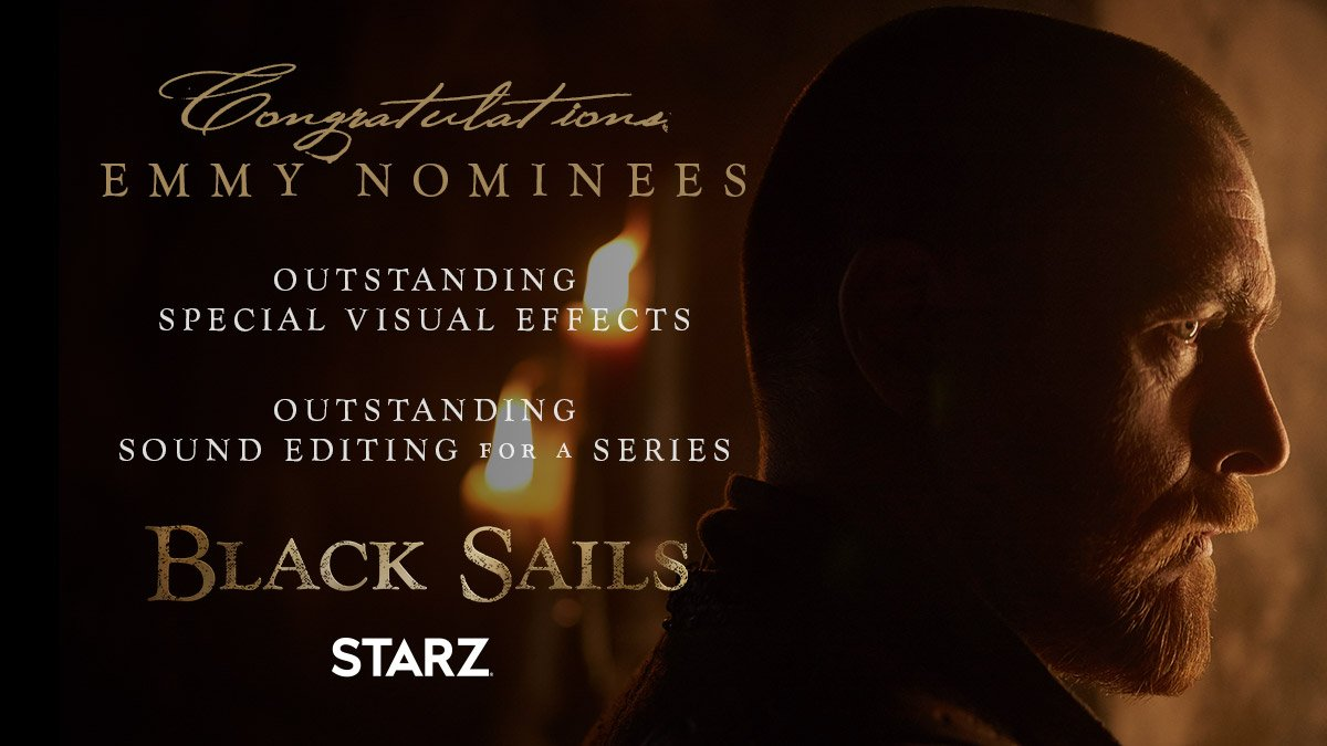 We are truly honored. Congratulations to our incredible #BlackSails crew on their nominations. #Emmys
