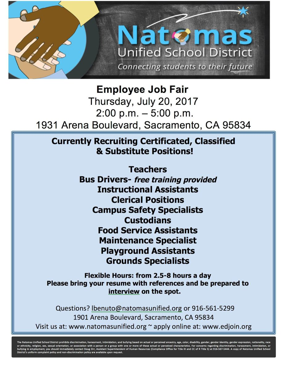 Reichel everhart reicheleverhart twitter nusd is hiring would you be a caring committed exemplary employee come to our job fair thurs july 20 2 5 pm 1931 arena blvd thxpicitter 1betcityfo Choice Image