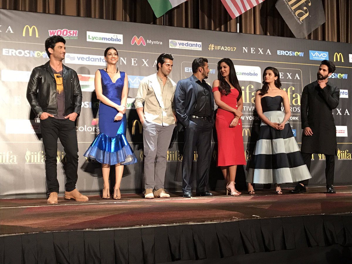 Image result for Picture perfect! A galaxy of stars descend onstage for the #IIFA2017 Press Conference in the city of New York.