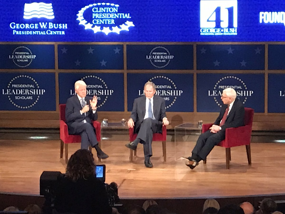 Former Presidents @billclinton and George W Bush share the stage in Dallas tonight at the @TheBushCenter https://t.co/GXcULPIJmh