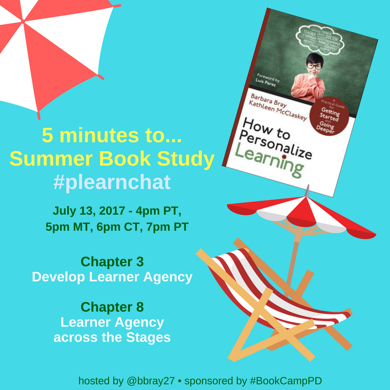 In 5 minutes #plearnchat Summer Book Study: How to Personalize Learning: July 13, 4p PT, 5p MT, 6p CT, 7p ET on Ch 3 & 8 learner #agency https://t.co/MA9rATHRDN