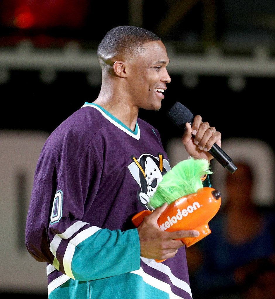 100% authentic a4bc9 e3f26 Russell Westbrook rocked a throwback Ducks jersey at the ...