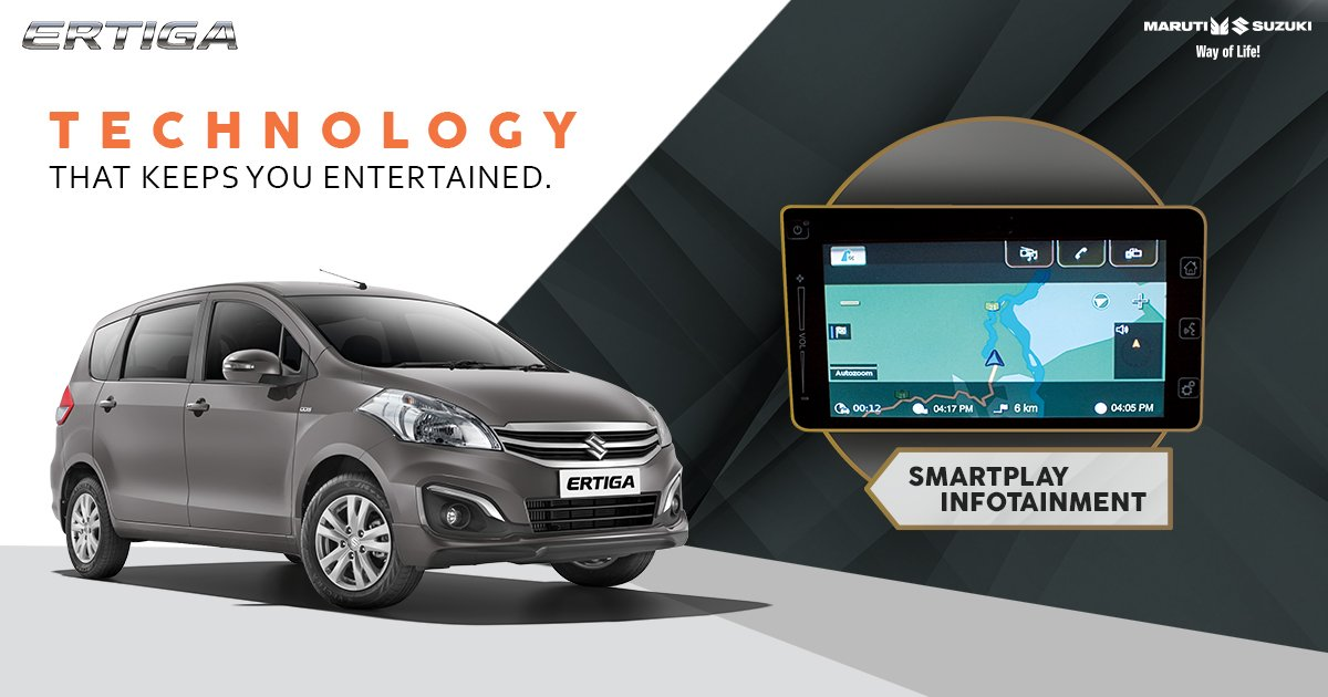 The SmartPlay Infotainment System in the Ertiga comes with GPS Navigation, Bluetooth and much more. #TogetherWithErtiga https://t.co/CnJBwiyXie