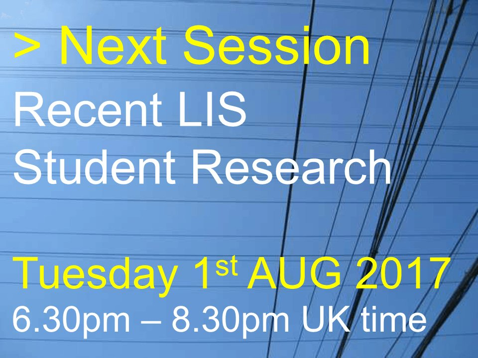 #uklibchat 1st August 18:30-20:30 BST  Recent LIS StudentResearch https://t.co/jsFMArZCdH https://t.co/2RGNcN1aeY
