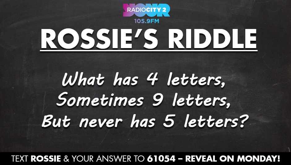 "radio city 2 on twitter: ""here's a #rossiesriddle that will annoy"