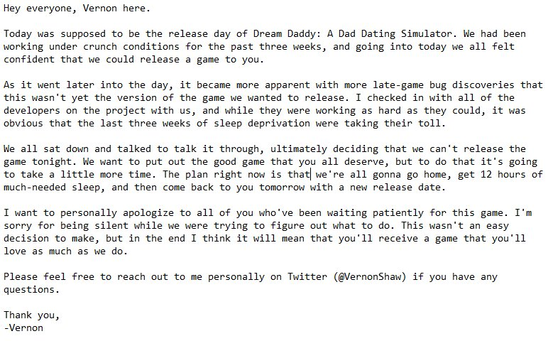 Dream daddy on twitter were so sorry we werent able to get dream daddy on twitter were so sorry we werent able to get the game out tonight heres a note from vernonshaw explaining in detail ccuart Gallery