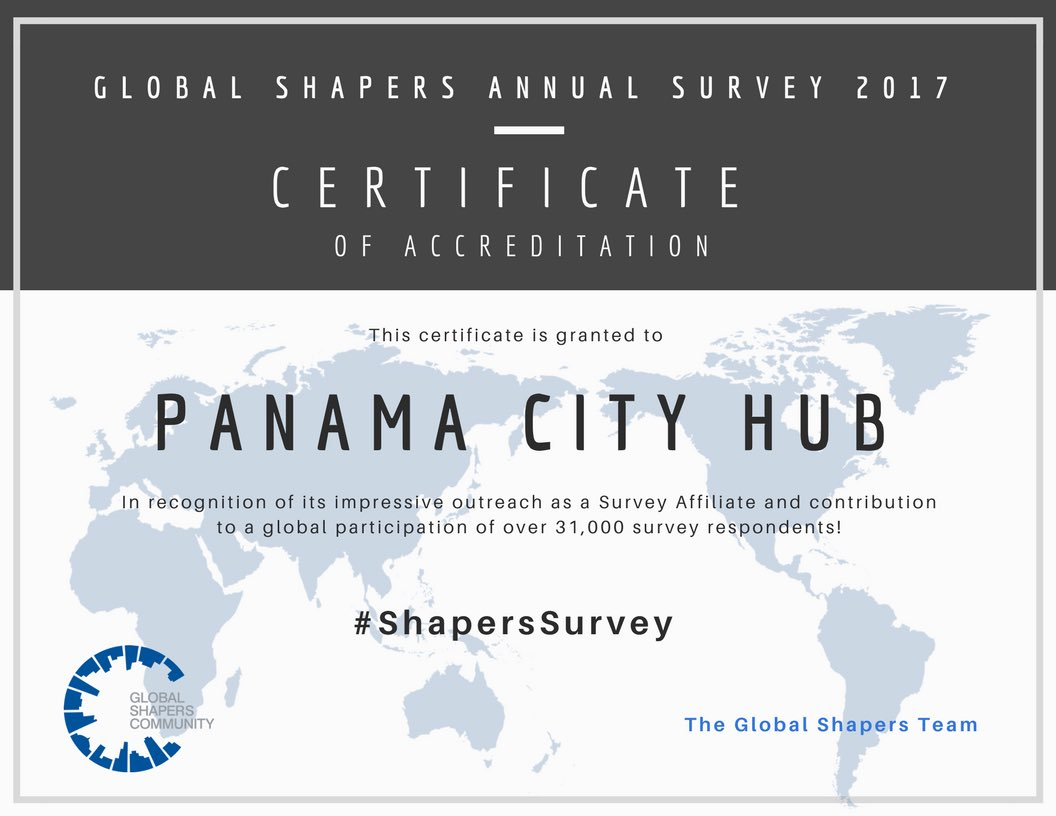 Thank you #Panama for sharing your voice at the @GlobalShapers Annual Survey! Stay tuned for the Survey Report. #Panama #ShaperSurvey <br>http://pic.twitter.com/Vvj0Ik1k31