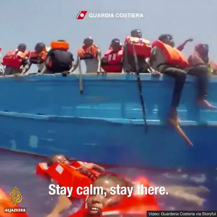 Harrowing footage shows Italian coastguards rescuing several child migrants from the Mediterranean Sea.