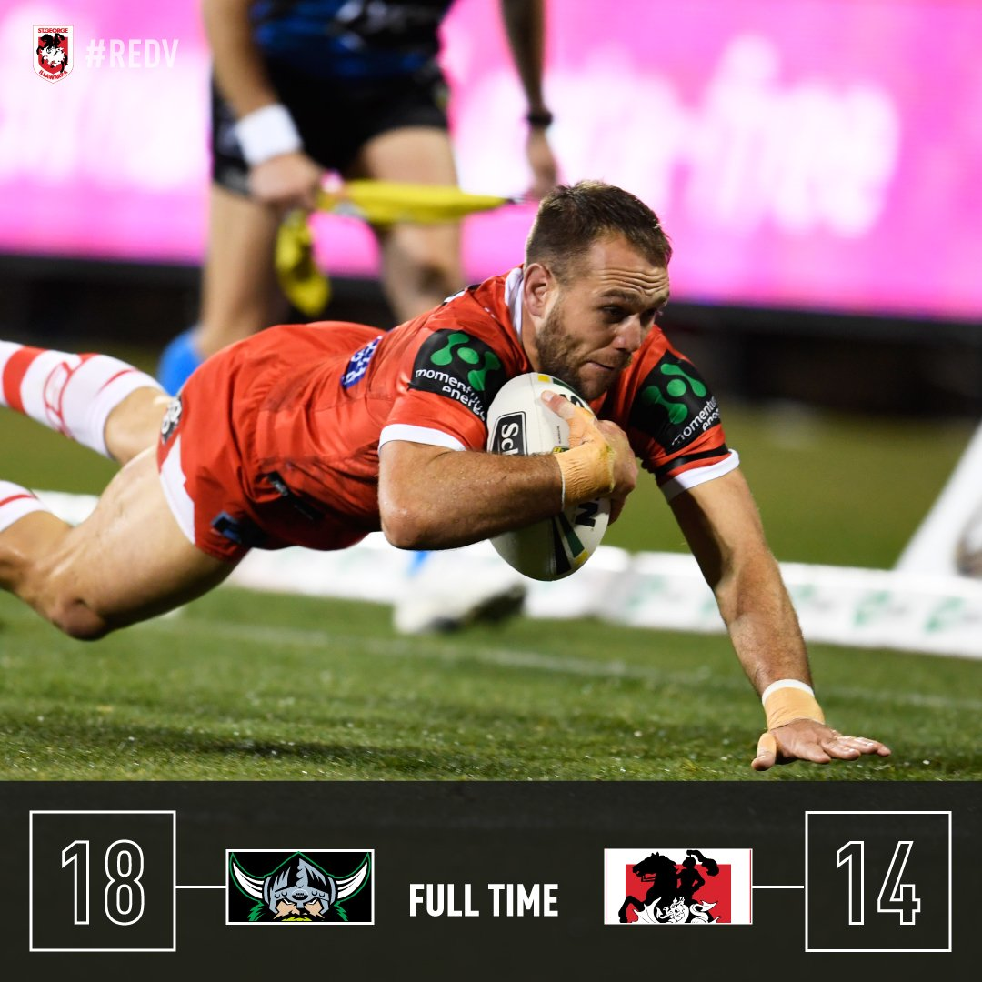 RT @NRL_Dragons: The Dragons go down to the Raiders in a nail-biter 18-14. #redv #NRLRaidersDragons https://t.co/2nuZKtFbG5