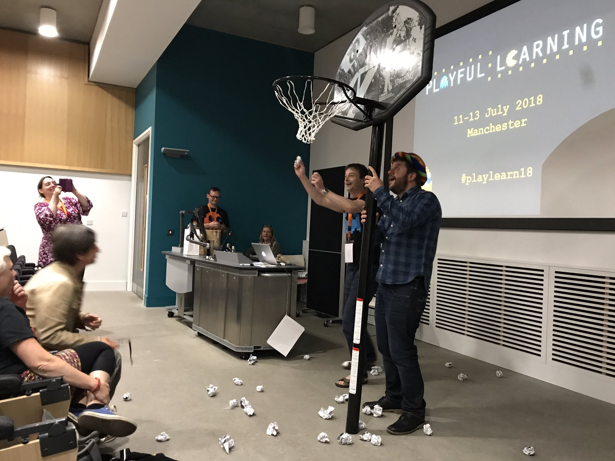 Throwing the evaluationsheets into the basket!!!! #PlayLearn17 https://t.co/gchcp8XvhU