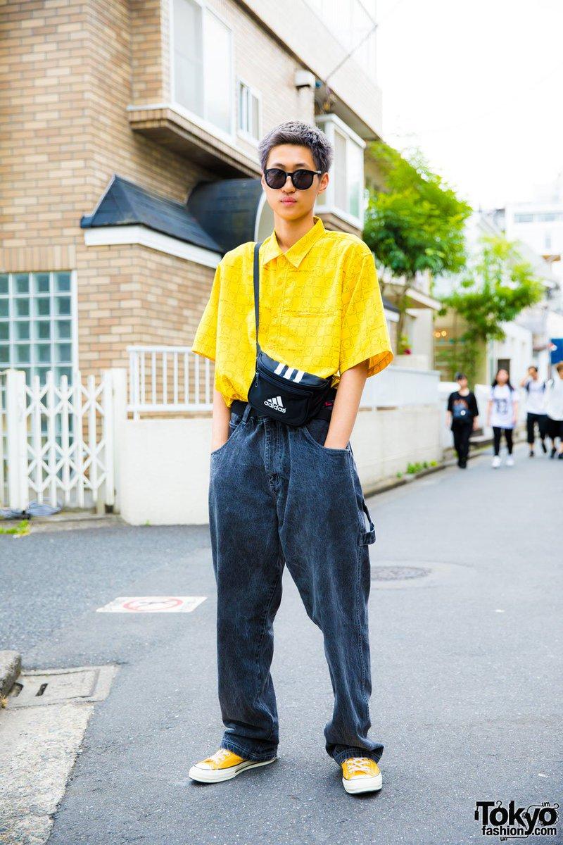 Harajuku Guy Resale Button Shirt Baggy Denim Converse