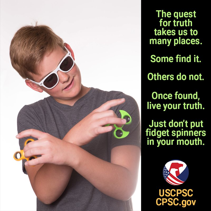 #FidgetSpinners have small parts that can be a choking hazard. Don't put spinners in your mouth #FridayFeeling https://t.co/Tstnjlw5Uc