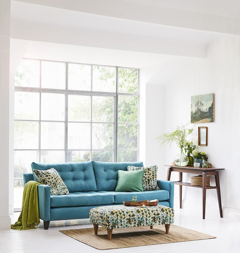 Sofa Pictured Here In The Lovely Lana Teal Fabric Is Now Half Price Online Or Https Www Multiyork Co Uk Sofas Dexter Oned
