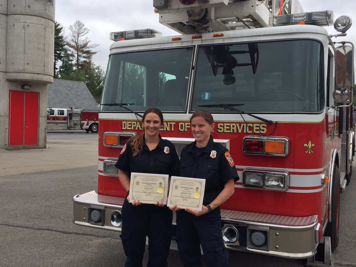 Firefighter's Becki Carloni & Katherine Forest on their graduation from the Massachusetts Fire Academy pic.twitter.com/LyYWXoktiS — @FranklinMAfire photo
