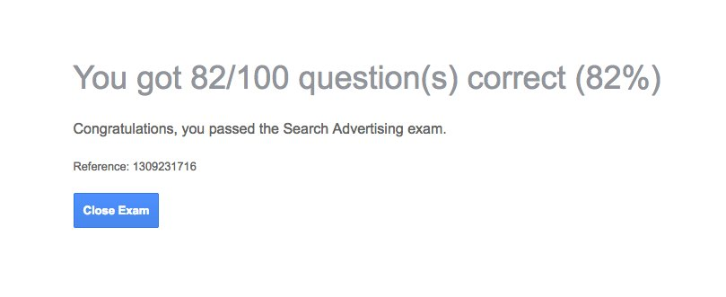 Just passed the Google Search Advertising exam &amp; I&#39;m officially #AdWords Certified! #GoogleAdWords <br>http://pic.twitter.com/aqxL5PnjBD