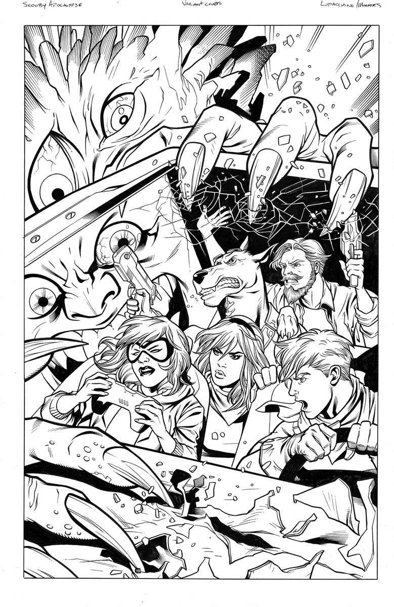 Scooby Apocalypse variant cover. Pencils by @manulupac with inks by me.