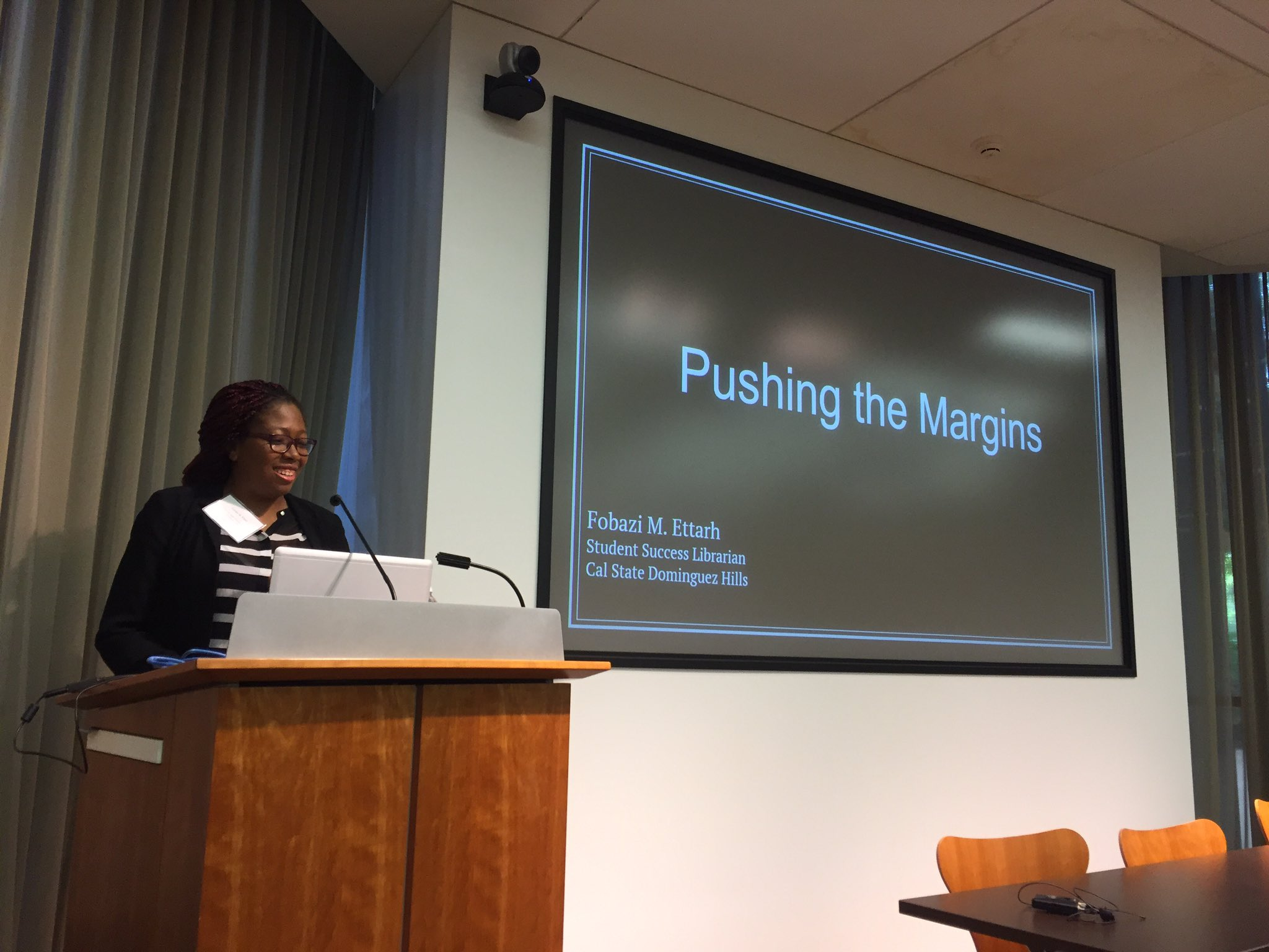 And @Fobettarh is kicking off the Pushing the Margins Symposium!! #WOCinLIS https://t.co/m9VHM4Ofso
