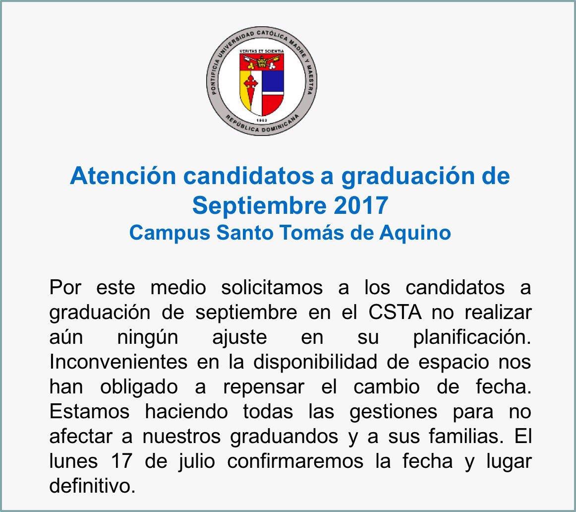 pucmm on twitter atención candidatos a graduación de septiembre
