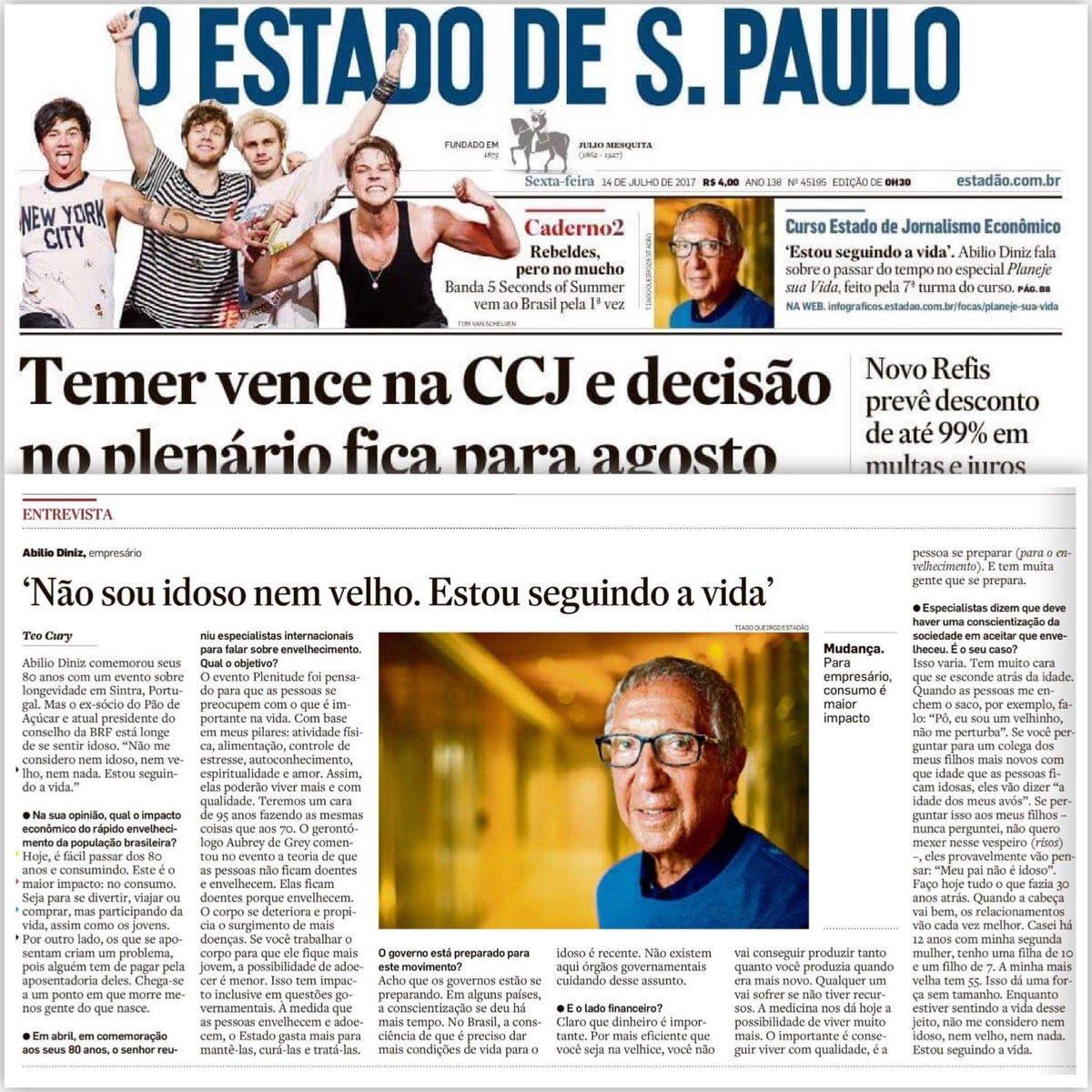 """Teo Cury on Twitter: """"No @Estadao de hoje tem entrevista exclusiva c/ o @abilio_diniz sobre envelhecimento e qualidade de vida."""