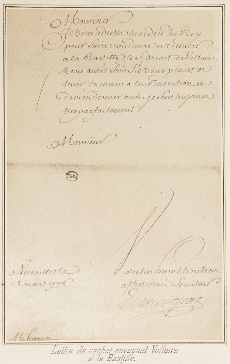 c.1716 &quot;Stamped Letter Sending Voltaire to the Bastille&quot; #DYK #Voltaire spent nearly a year imprisoned in the #Bastille #BastilleDay<br>http://pic.twitter.com/AsDgi60OAw