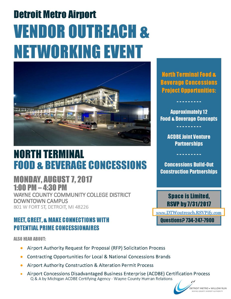 Dtw airport on twitter miss your chance to attend our last dtw airport on twitter miss your chance to attend our last vendor outreach and networking event youre in luck join us on august 7th wcccdistrict xflitez Choice Image